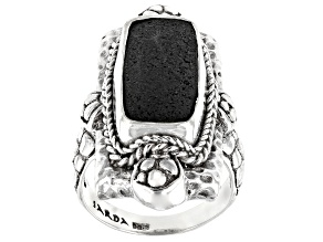 Volcanic Rock Silver Solitaire Ring