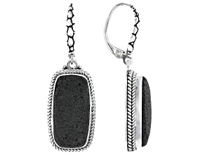 Volcanic Rock Silver Dangle Earrings