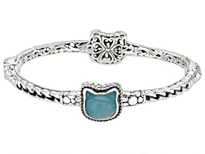Teal Quartzite Sterling Silver Kitty Bracelet