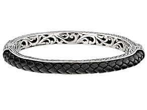 Sterling Silver And Leather Woven Bangle Bracelet