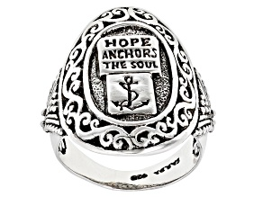 "Sterling Silver ""Hope Anchors The Soul"" Ring"