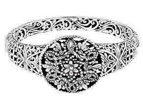 "Sterling Silver ""Growing In Wisdom"" Floral Bangle Bracelet"