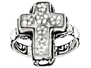 Carved White Mother of Pearl Cross Silver Charm Ring