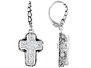 Carved White Mother of Pearl Cross Silver Dangle Earrings