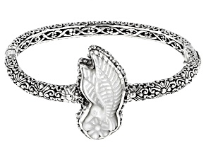 Carved White Mother of Pearl Hummingbird Silver Bracelet