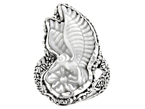 Carved White Mother of Pearl Hummingbird Silver Solitaire Ring