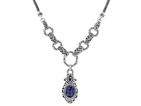 Tanzanite Sterling Silver Drop Necklace 4.84ctw