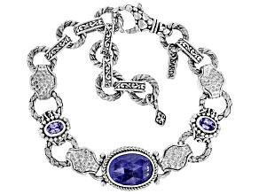 Oval Tanzanite Sterling Silver Bracelet 5.22ctw