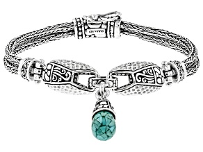 Mosaic Turquoise Sterling Silver Multi-Row Bracelet