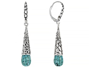 Mosaic Turquoise Sterling Silver Dangle Earrings