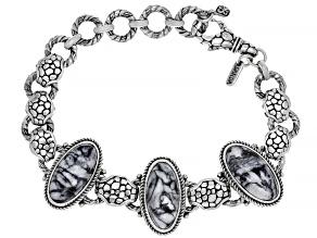 Oval Pinolith Cabochon Sterling Silver Bracelet