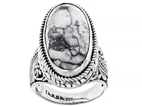 Pinolith Cabochon Sterling Silver Solitaire Ring