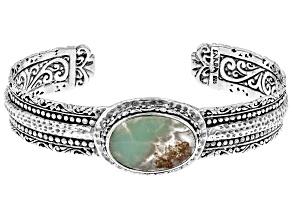 Aquaprase Cabochon Sterling Silver Cuff Bracelet