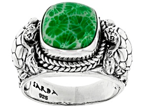 Bali Hai Green Indonesian Coral Silver Turtle Ring