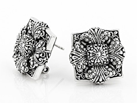 Sterling Silver Floral Earrings