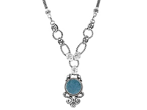 Carved Light Blue Onyx Flower Sterling Silver Necklace