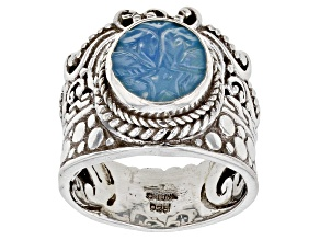 Carved Blue Onyx Flower Sterling Silver Solitaire Ring