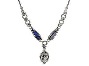 Labradorite Doublet Sterling Silver Drop Necklace