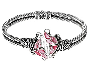 Inlaid Pink Shell Sterling Silver Butterfly Bracelet