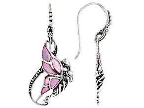 Pink Shell Sterling Silver Butterfly Dangle Earrings