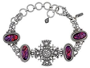 Purple Abalone Triplet Sterling Silver Bracelet