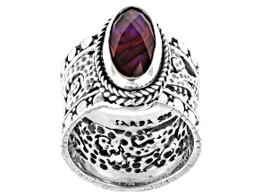 Purple Abalone Triplet Silver Solitaire Ring