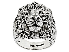 "Silver ""Be Courageous"" Lion Ring"