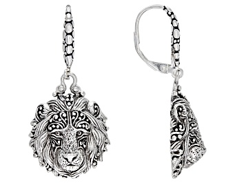 """Picture of Silver """"Be Courageous"""" Lion Dangle Earrings"""