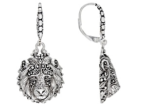 "Silver ""Be Courageous"" Lion Dangle Earrings"