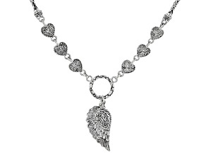 "Sterling Silver ""Mighty Warrior"" Heart And Angel Wing Necklace"