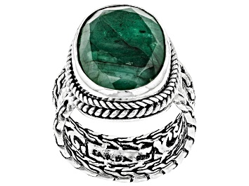 Picture of Emerald Sterling Silver Solitaire Ring