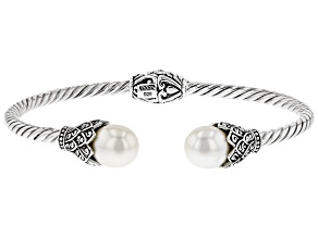 White Cultured Freshwater Pearl Silver Cuff Bracelet