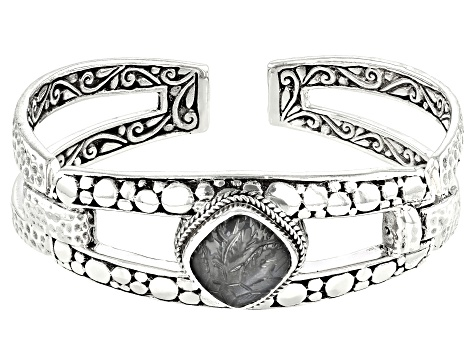 Carved Grey Moonstone Flower Silver Cuff Bracelet