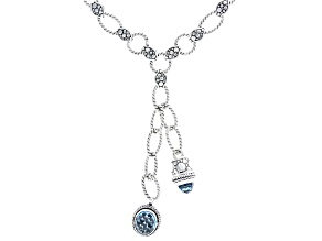 London Blue Topaz And Swiss Blue Topaz Silver Necklace 9.30ctw
