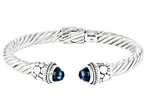 Swiss Blue Topaz Sterling Silver Cuff Bracelet 6.64ctw