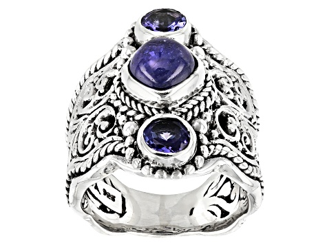 Tanzanite Sterling Silver Filigree Ring 0.58ctw