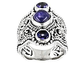 Tanzanite Sterling Silver Filigree Ring 0.58ctw