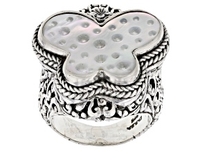 Carved White Mother Of Pearl Butterfly Silver  Ring
