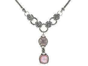 Light Pink Quartz Doublet And Rose Quartz Silver Necklace 5.04ctw