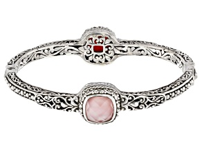 Light Pink Quartz Doublet Silver Bangle Bracelet