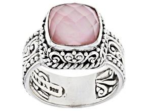 Light Pink Quartz Doublet Silver Solitaire Ring