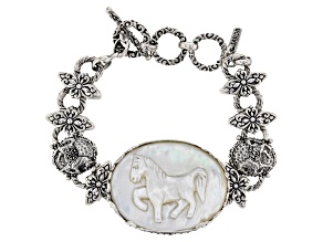 White Mother Of Pearl Horse Silver Bracelet