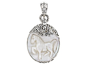 Carved White Mother Of Pearl Horse Silver Pendant