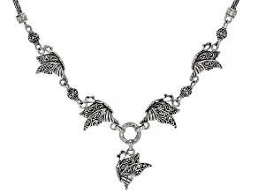 "Sterling Silver ""This Too Shall Pass"" Filigree Butterfly Necklace"