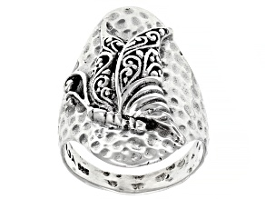 "Sterling Silver ""This Too Shall Pass"" Filigree Butterfly Ring"