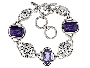 Charoite And Purple Quest™ Quartz Sterling Silver Bracelet 3.99ctw
