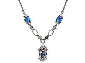 Cobalt Blue Quartz Doublet & Blue Abalone Shell Triplet Silver Necklace