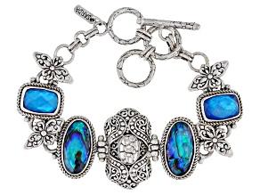 Cobalt Blue Quartz Doublet & Blue Abalone Shell Triplet Silver Bracelet