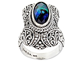 Blue Abalone Shell Triplet Silver Solitaire Ring