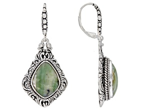 Australian Green Opal Sterling Silver Dangle Earrings